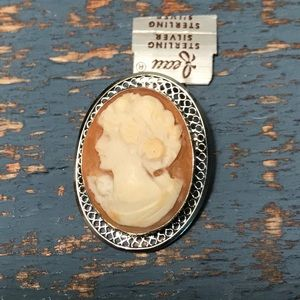 Jewelry - Estate Sterling Silver Cameo both Pendant & Pin
